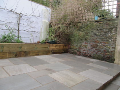 Grey Limestone Patio and Sleeper Border, Clifton