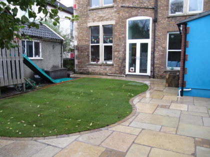 Antique Limestone Paving with Lawn, Redland