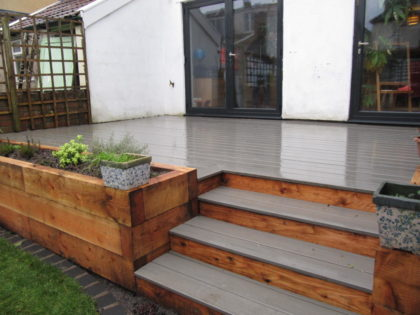 Composite Decking with Lawn, Planting, Green Roof and Shed, Bishopston