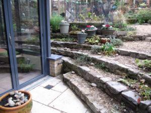 Stone Steps, Paving and Cedar Shingle Shed, Cotham