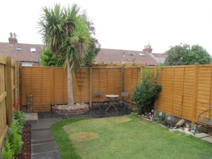 Slate Paving with Brickwork and Pergola, Knowle