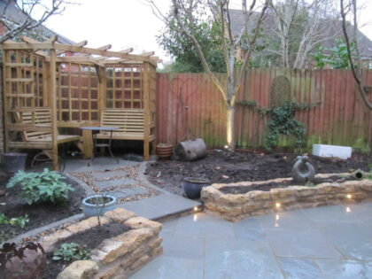 Limestone Paving, Pergola, Raised Beds, Water Feature, Green Roof Store, Brentry