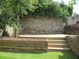 Timber Decking with Steps and Lawn