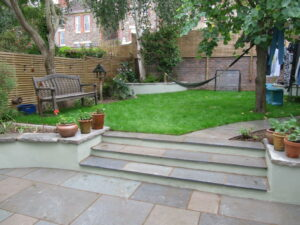 Curved Patio and Borders with Steps and Lawn, Redland