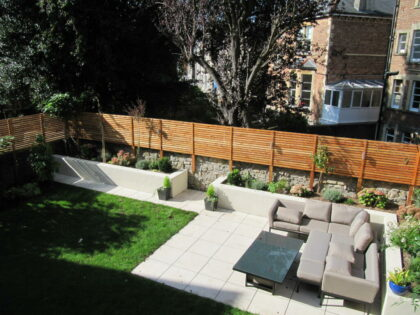 Porcelain Patio, Timber Screen with Planted Borders, Sneyd Park